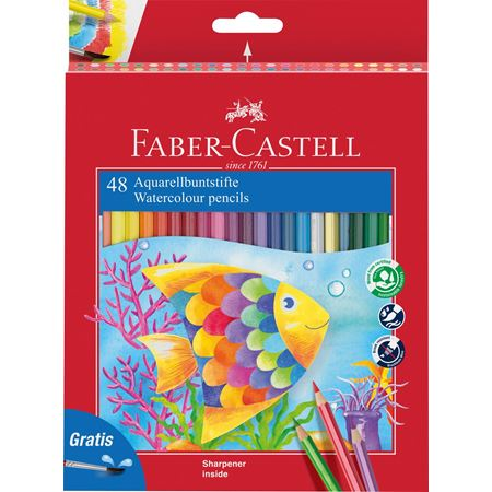 Faber-Castell - Classic Colour watercolour pencils, cardboard wallet of 48