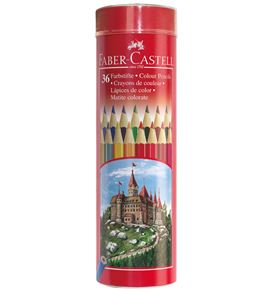 Faber-Castell - Coloured pencil Castle hexagonal round tin of 36