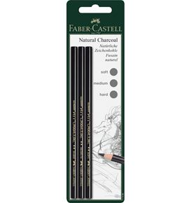 Faber-Castell - Pitt natural charcoal pencil, set of 3, soft, medium, hard