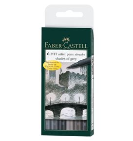 Faber-Castell - Pitt Artist Pen Brush India ink pen, wallet of 6, Grey tones