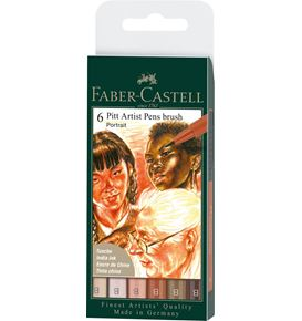 Faber-Castell - India ink Pitt Artist Pen Brush wallet of 6, Portrait