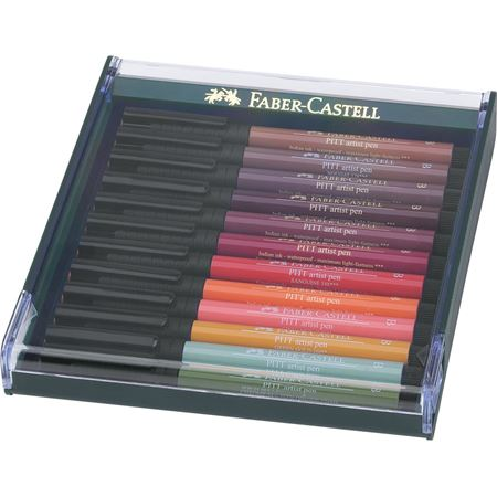 Faber-Castell - Pitt Artist Pen Brush India ink pen, set of 12, Earth tones