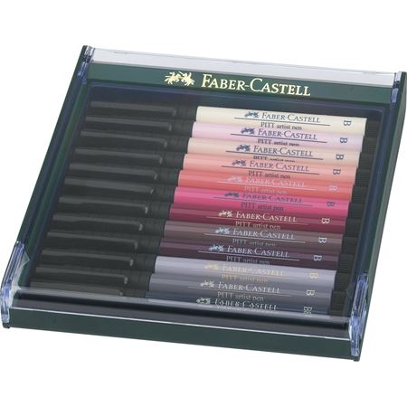 Faber-Castell - Pitt Artist Pen Brush India ink pen, set of 12, Portrait