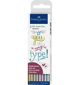 Faber-Castell - Pitt Artist Pen Metallic 1.5 India ink pen, wallet of 4