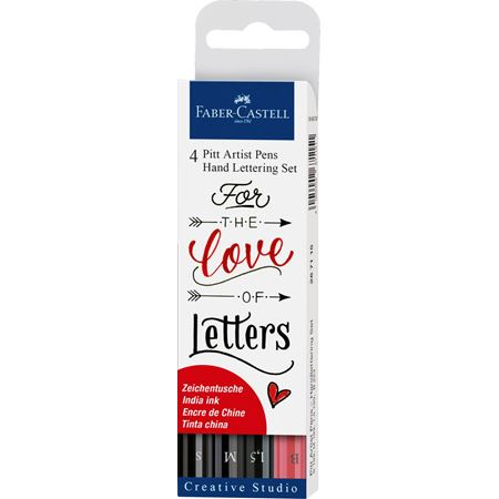 Faber-Castell - Pitt Artist Pen India ink pen, set of 4 Lettering, black
