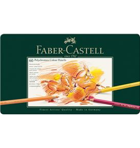 Faber-Castell - Polychromos colour pencil, tin of 60
